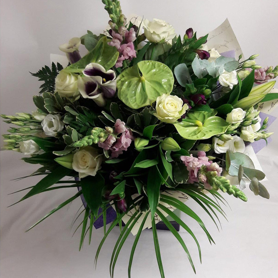 Mix anthurium and roses bouquet