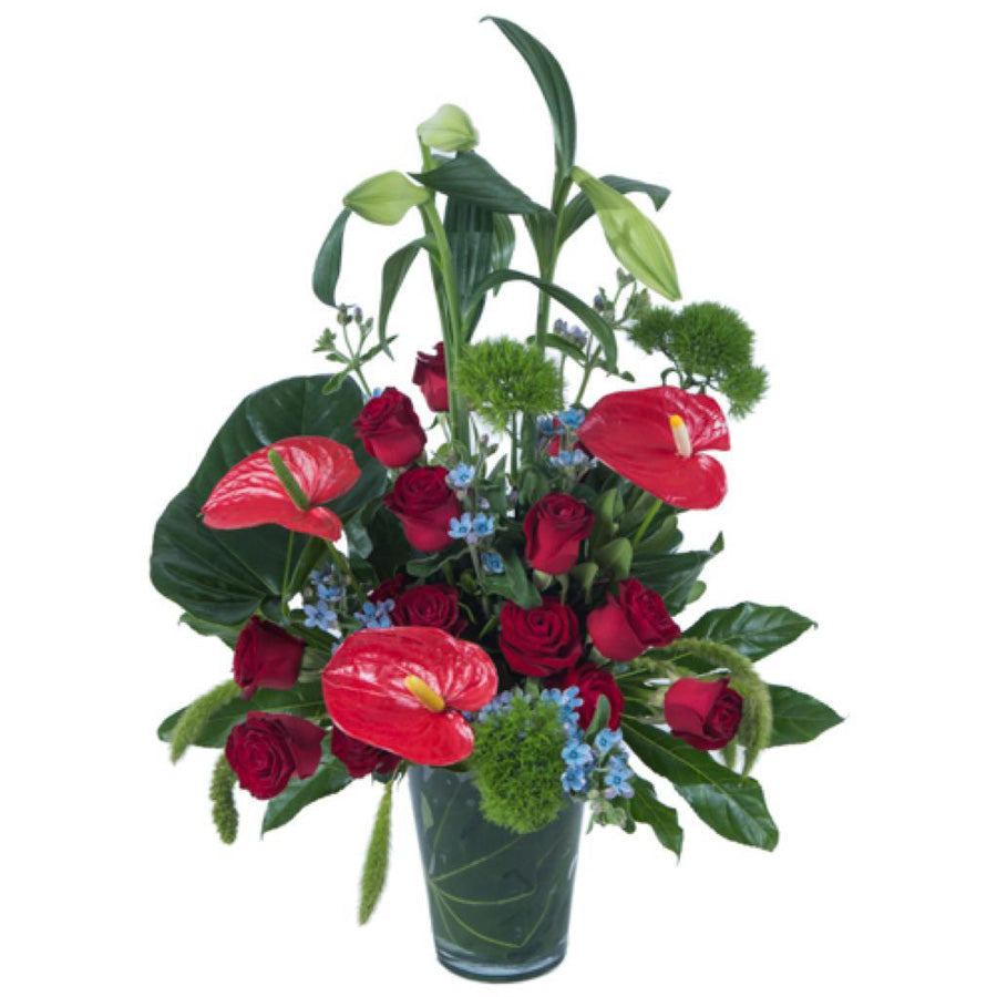 Roses and anthurium arrangement