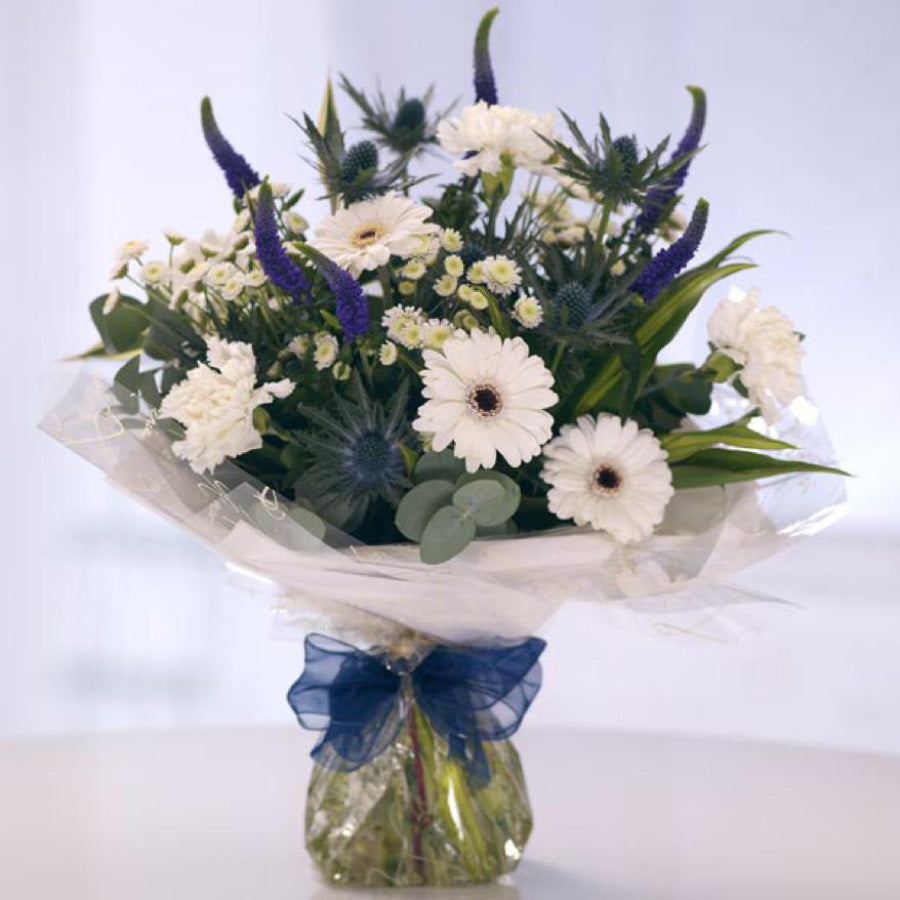 White gerbera aqua pack bouquet