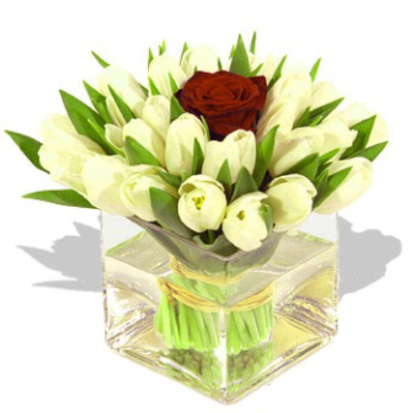 White tulips bouquet in a vase