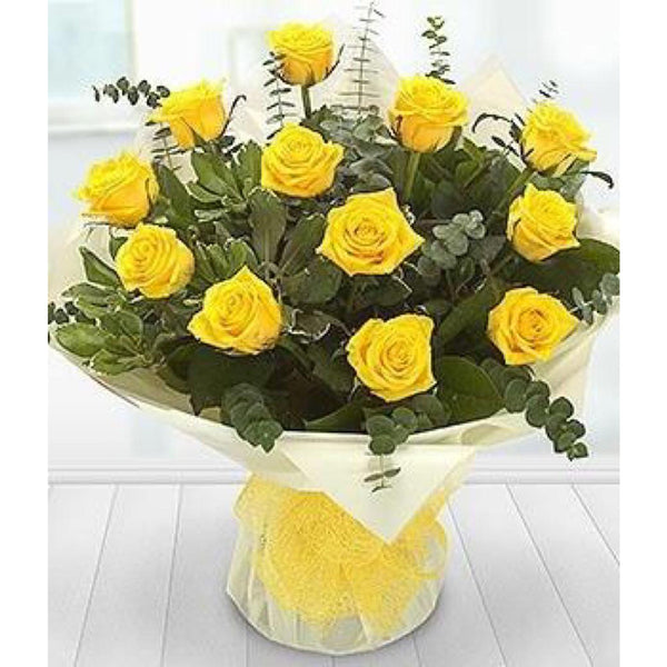 Yellow roses and eucalyptus bouquet