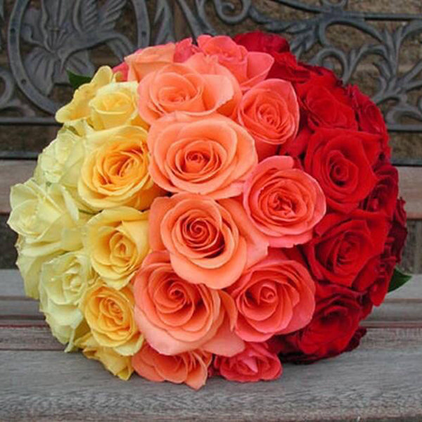 Mixed colour roses bouquet
