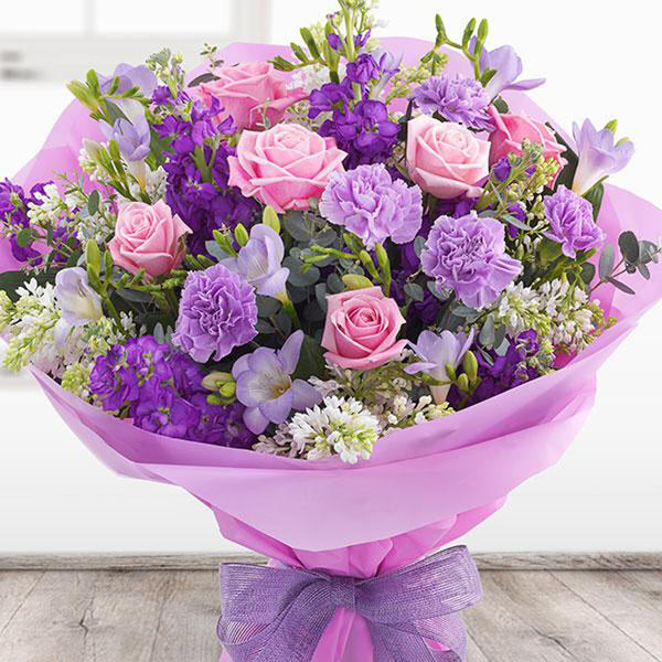 Pink Roses & Purple Lisianthus Bouquet