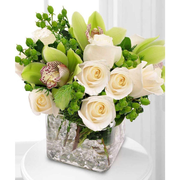 Green Cymbidium & White Roses Arrangements