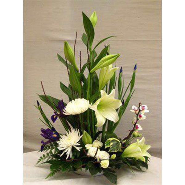 Modern White Longi Lily Arrangement
