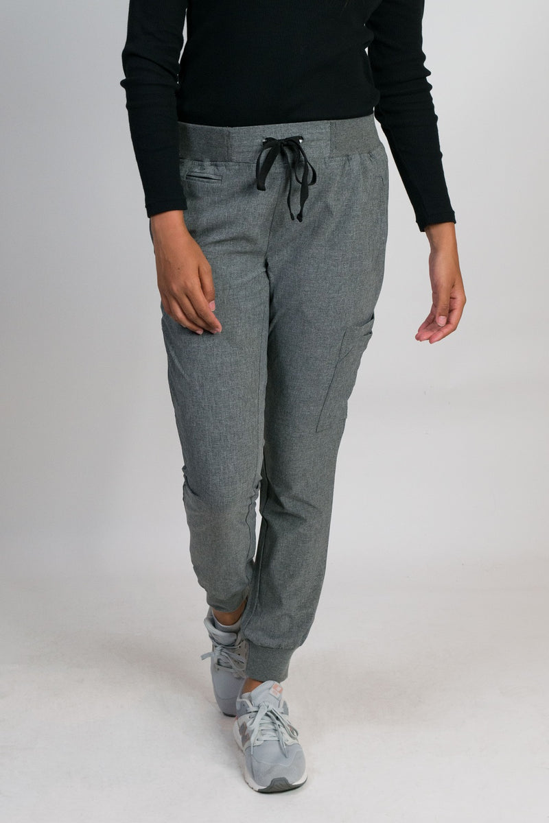 Crystal | Women's 9-pocket Rib Knit Waistband & Cuffs Jogger Pants | Heather Graphite