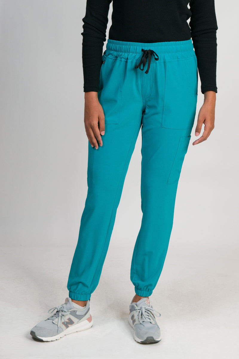 Sierra | Women's 6-pocket Gathered Cuffs Jogger Pants | Teal