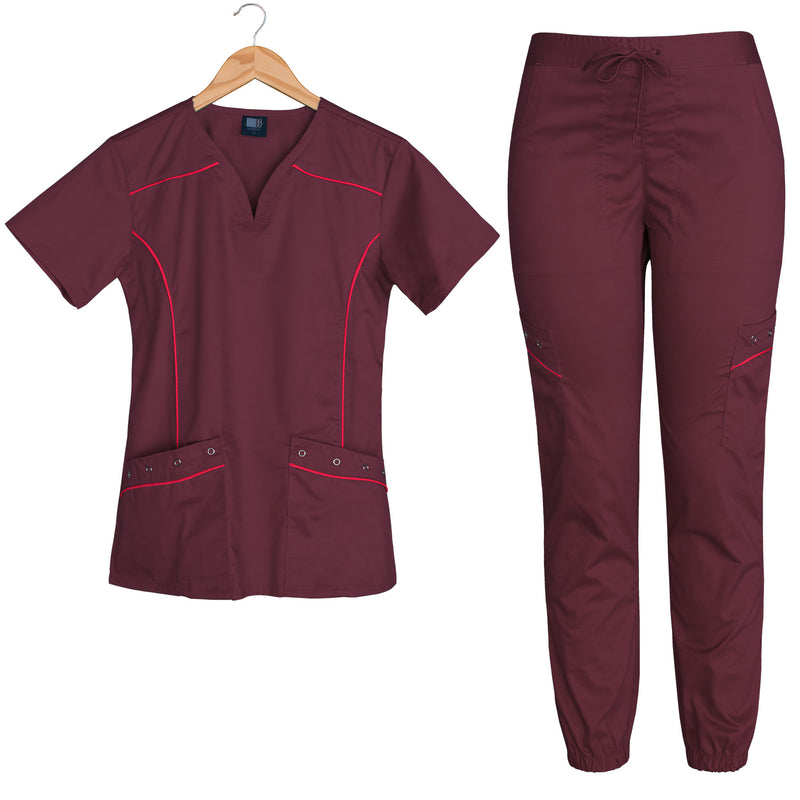 Willow | Limited Edition Women's Contrast Piping Scrubs Set (Burgundy)