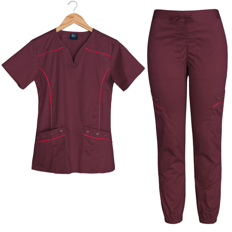 Limited Edition Women's Willow Contrast Piping Scrubs Set (Burgundy)