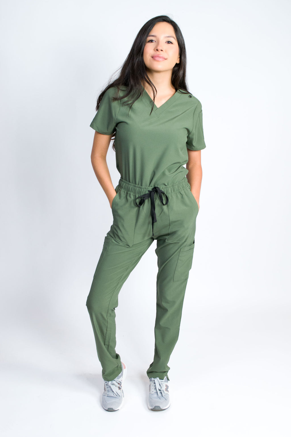 Skye | Women's 5-Pocket Top Straight Leg Pants Set | Olive