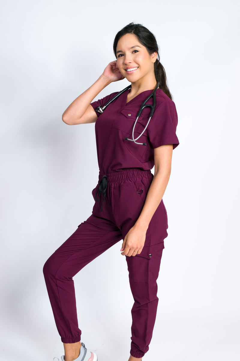 Maple | Women's 3-Pocket Snap Closure Chest Pocket Top Gathered Jogger Pants Set | Burgundy