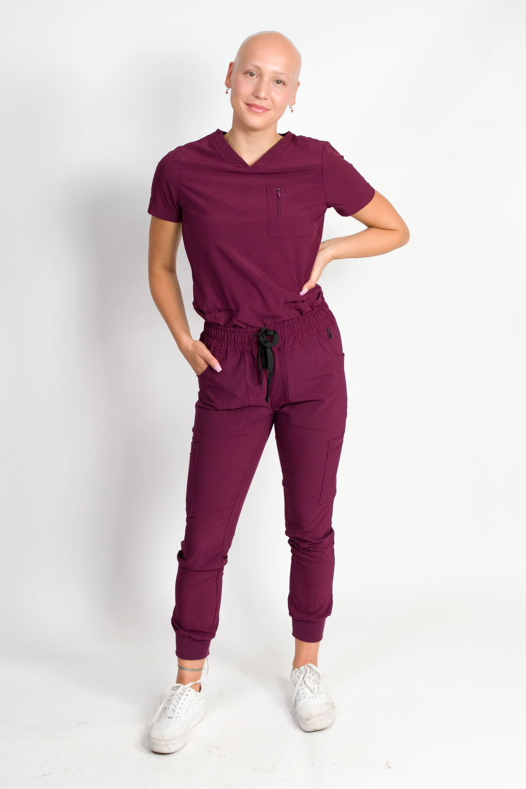 Fleur | Women's Mitered Neck Zip Chest Pocket Top Knit Rib Cuffs Jogger Pants Set | Burgundy