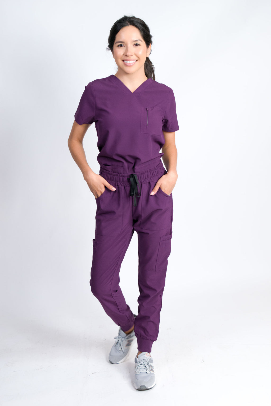 Fleur | Women's Mitered Neck Zip Chest Pocket Top Knit Rib Cuffs Jogger Pants Set | Eggplant