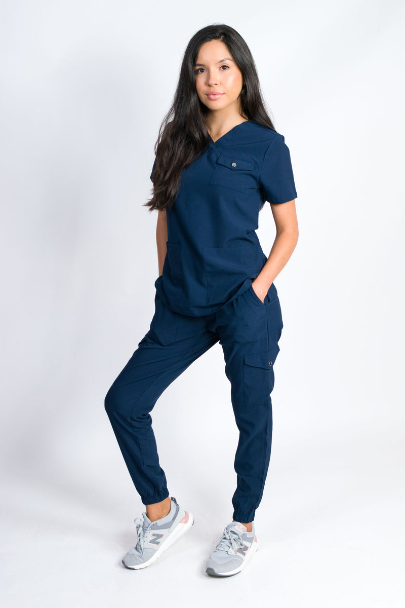 Maple | Women's 3-Pocket Snap Closure Chest Pocket Top Gathered Jogger Pants Set | Navy