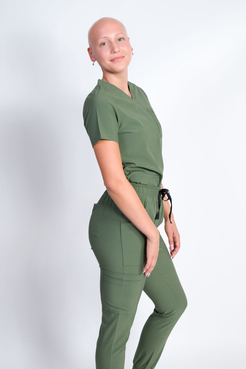 Fleur | Women's Mitered Neck Zip Chest Pocket Top Knit Rib Cuffs Jogger Pants Set | Olive