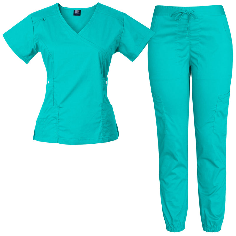 Raina | Limited Edition Women's Mock Wrap Snap Pockets Scrubs Set (Mint)