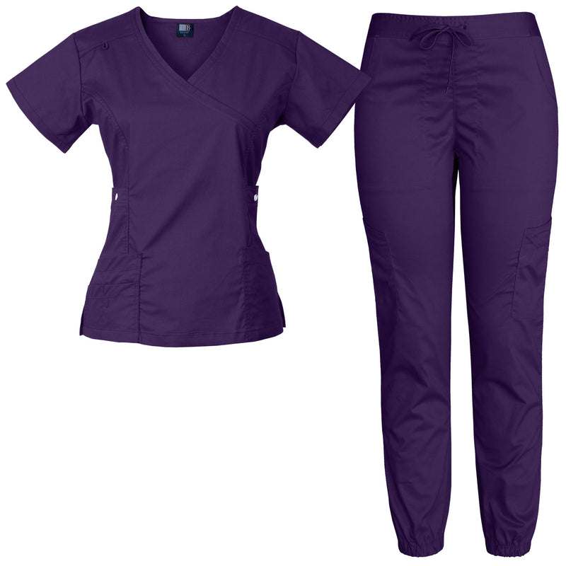 Raina | Limited Edition Women's Mock Wrap Snap Pockets Scrubs Set (Purple)