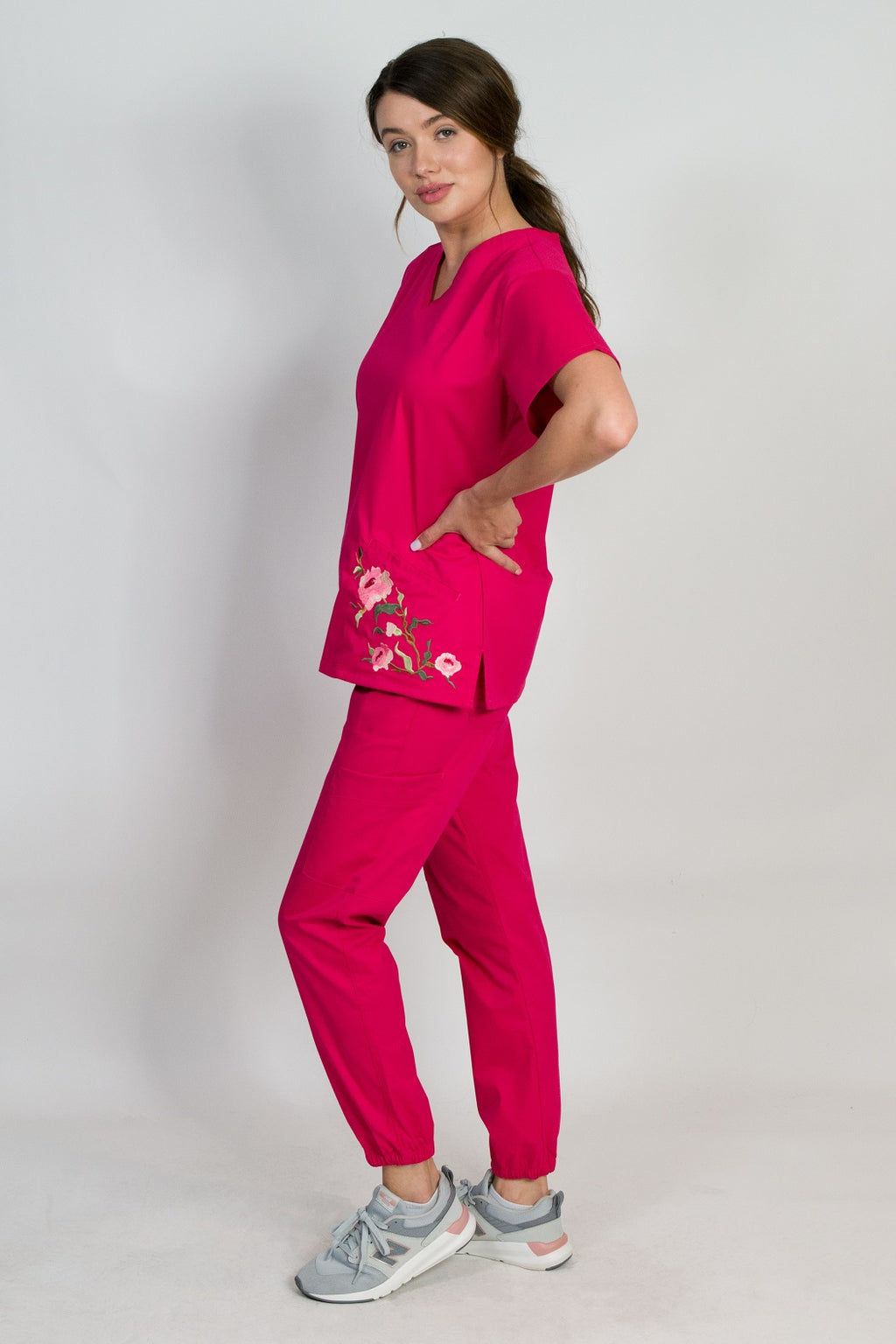 Blossom | Limited Edition Women's Floral Embroidery Scrubs Set (Crimson)