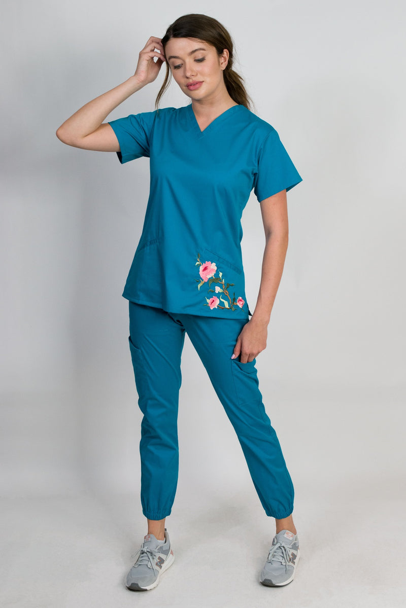 Blossom | Limited Edition Women's Floral Embroidery Scrubs Set (Dark Teal)
