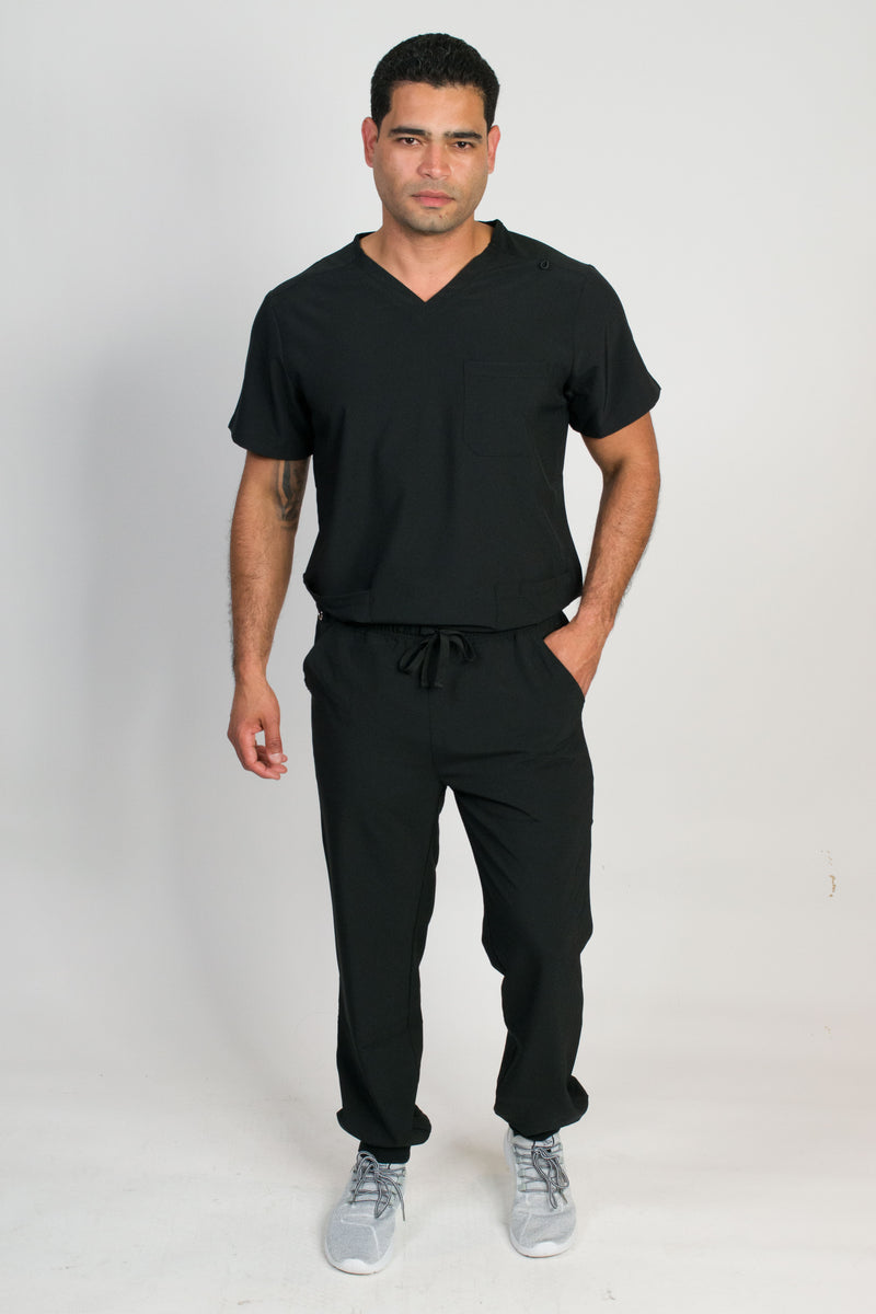 Orion | Men's 4-Pocket Top Rib Knit Cuff Jogger Set | Black