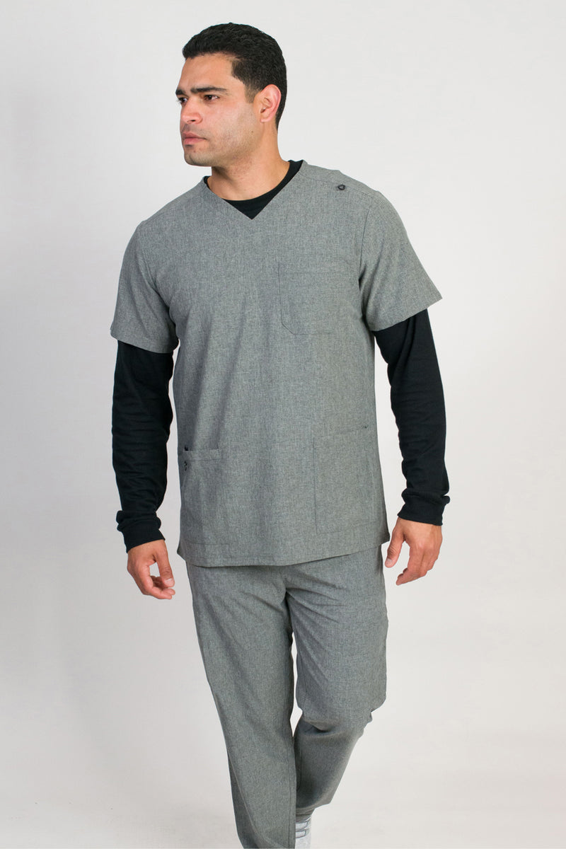 Orion | Men's 4-Pocket Top Rib Knit Cuff Jogger Set | Heather Graphite