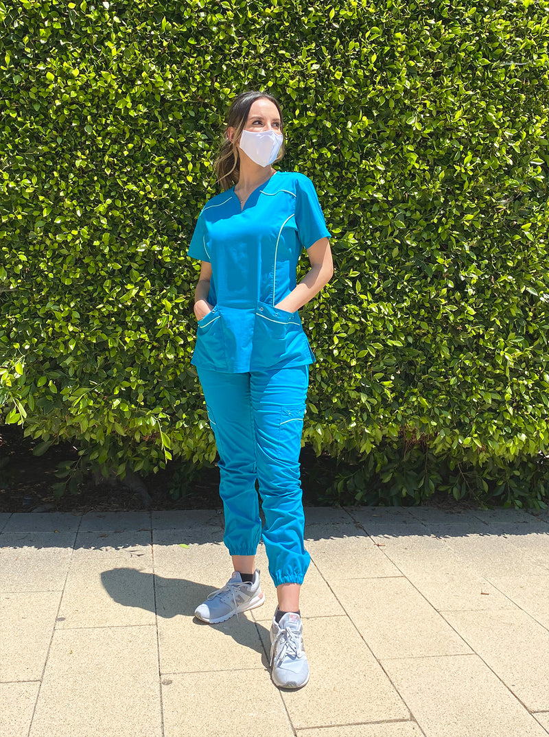 Willow | Limited Edition Women's Contrast Piping Scrubs Set (Teal)
