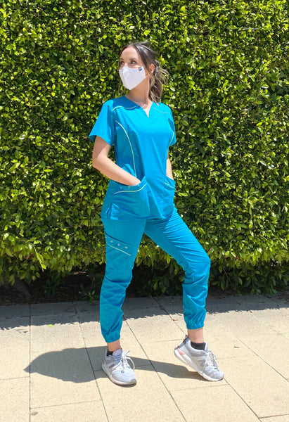 Limited Edition Women's Willow Contrast Piping Scrubs Set (Teal)
