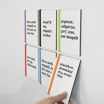 Whiteboard Mini Tiles with Color Bands, 6-Pack
