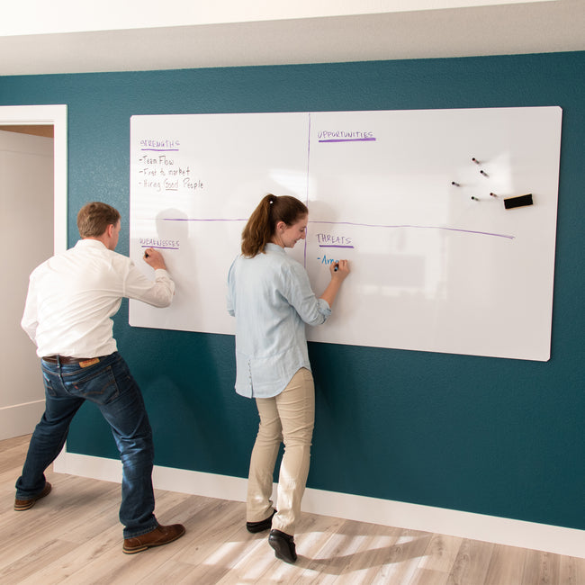 "Floating Magnetic Whiteboard, 90"" X 46"""