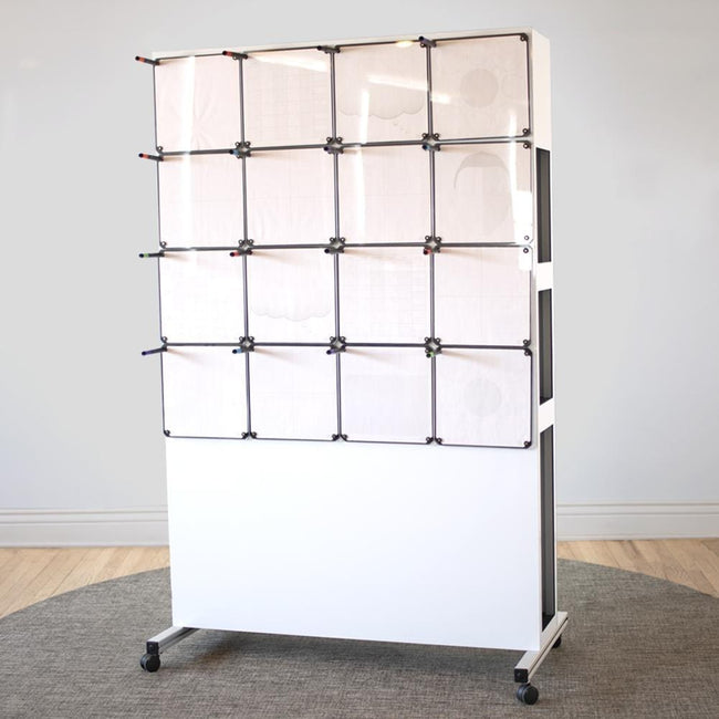 Rolling Whiteboard Easel with 16 Tablets
