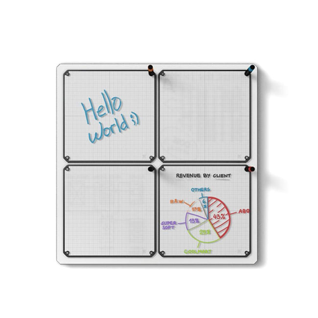 "Floating Magnetic Whiteboard, 24"" x 24"" with 4 Tablets"