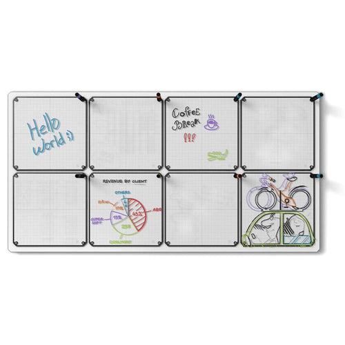 "Floating Magnetic Whiteboard, 24"" x 46"" with 8 Tablets"