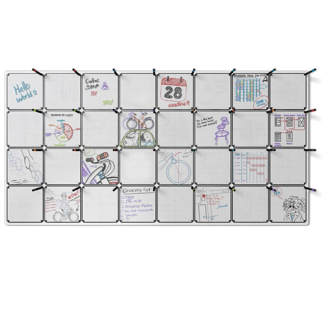 "Floating Magnetic Whiteboard, 90"" x 46"" with 32 Tablets"