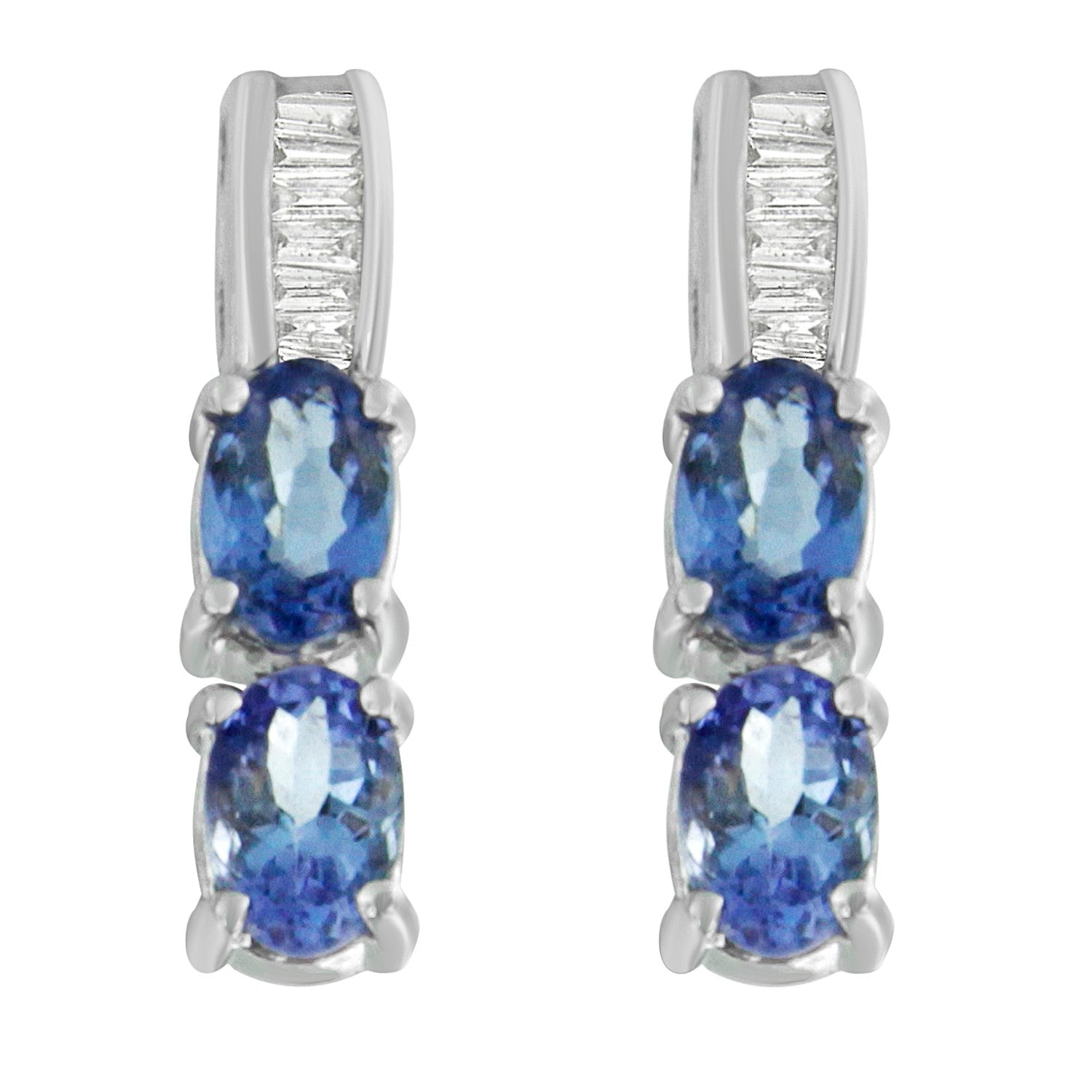14K White Gold 2 1/6ct TDW Diamond and Tanzanite Earrings (G-H, SI2-I1)