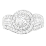 14K White Gold 1ct. TDW Round Brilliant and Baguette Diamond Ring (H-I,SI1-SI2)
