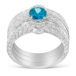 14K White Gold 1 3/8ct TDW Blue Round Brilliant Diamond Bridal Set with Anniversary Band (H-I ,SI1-SI2)