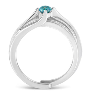 14K White Gold 1/2ct TDW White and Blue Marquise Cut Diamond Bridal Set (H-I ,SI1-SI2)