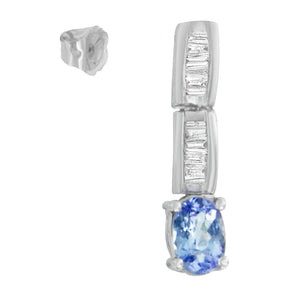 14K White Gold 1 1/3ct TDW Diamond and Tanzanite Earrings (G-H,SI2-I1)