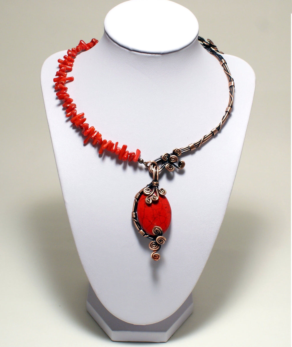 Handcrafted Wire Wrapped Red Necklace, Artisan Jewelry Handmade - Babazen