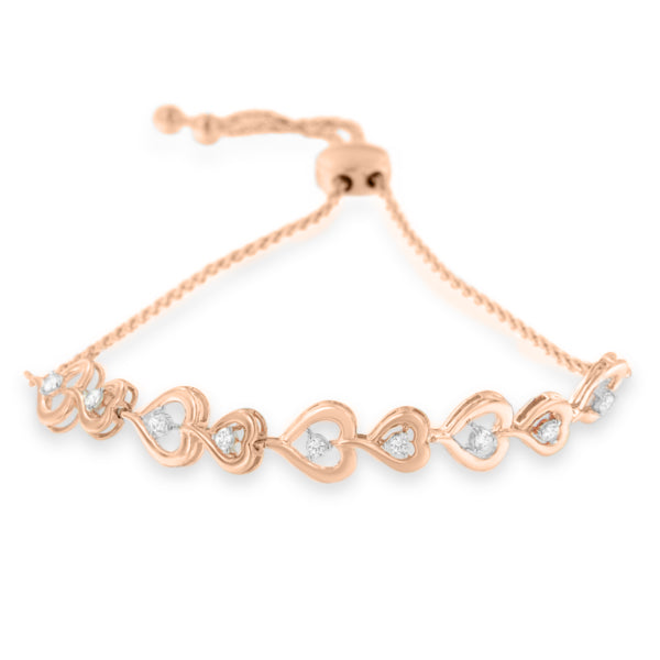 Rose Gold-Plated Sterling Silver Diamond Heart Bolo Bracelet (H-I,I2-I3)