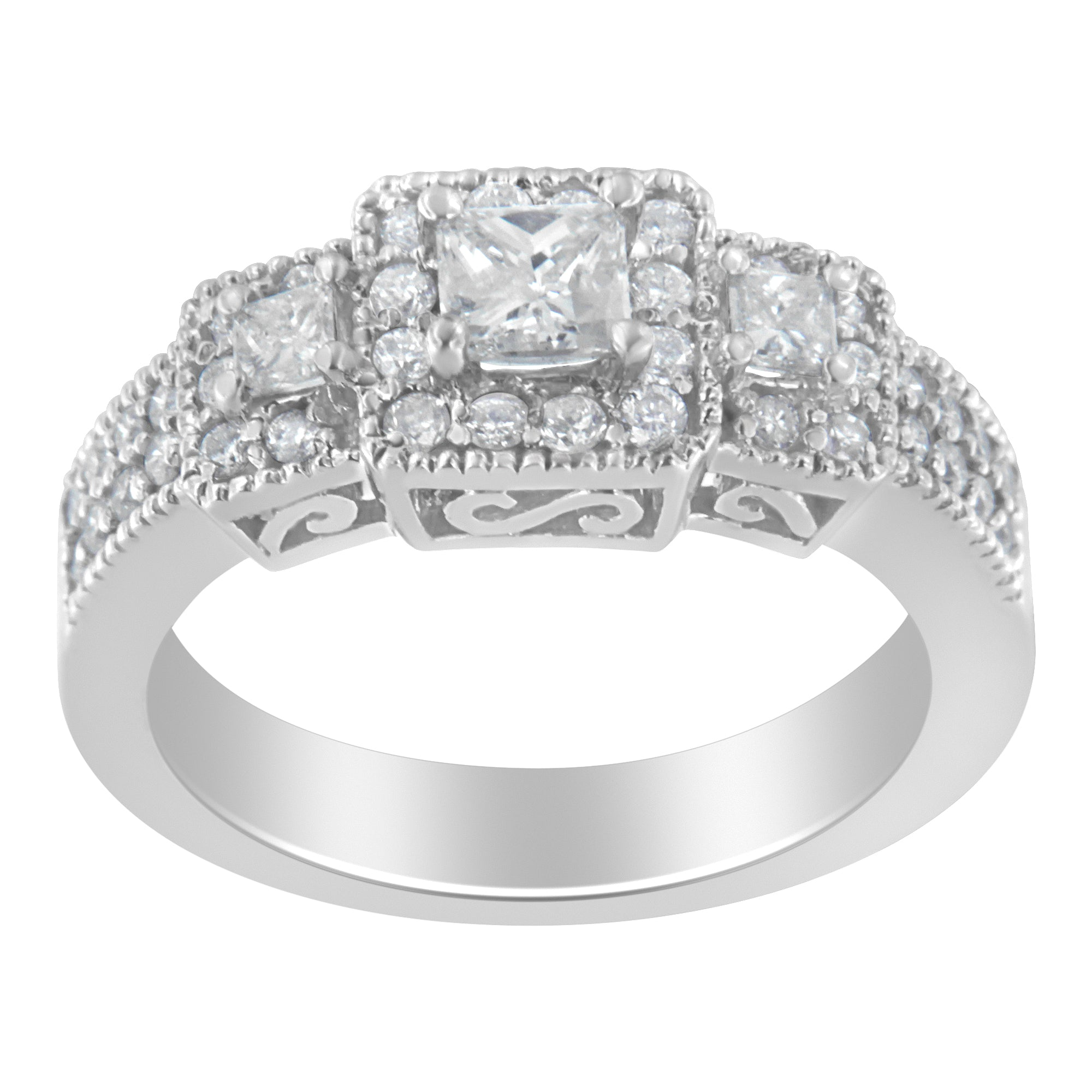 14K White Gold 1ct TDW Round And Princess-cut Diamond Three Stone Ring (H-I,I1-I2)