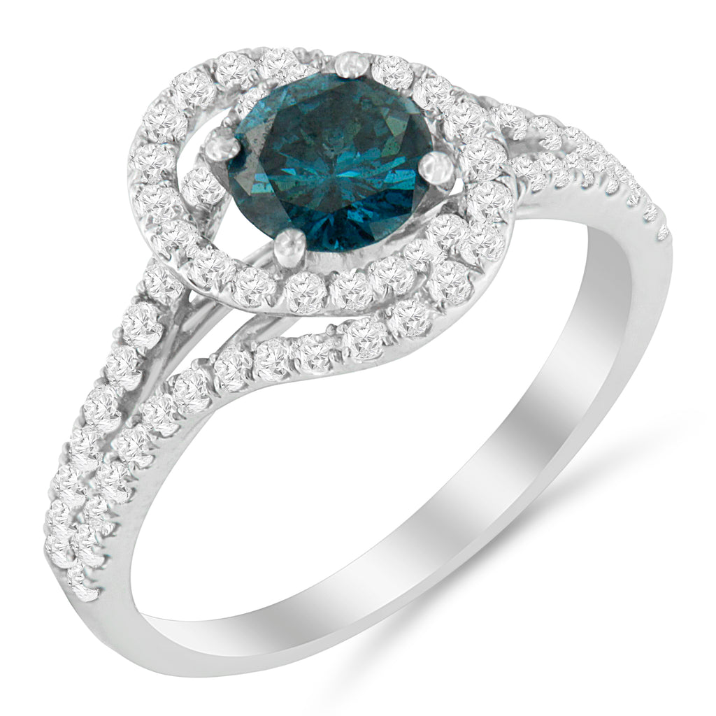 14k White Gold 1 1/3 ct TDW Blue Diamond Engagement Ring (Blue, SI2-I1)