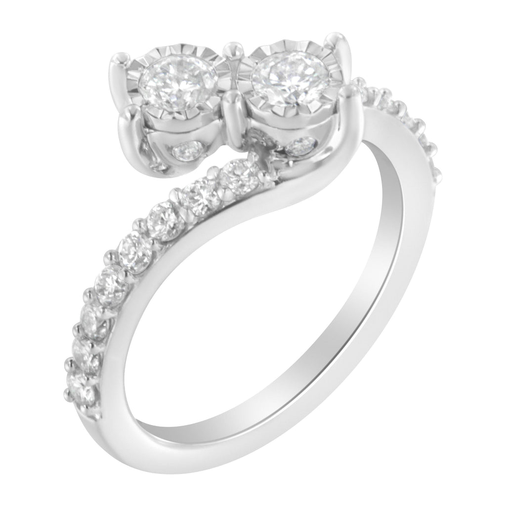 10K White Gold 1ct. TDW Two-Stone Diamond Bypass Ring (H-I,I1-I2)