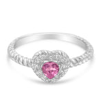 Sterling Silver Pink Sapphire Heart and Diamond Accent Ring (I-J,I2-I3)