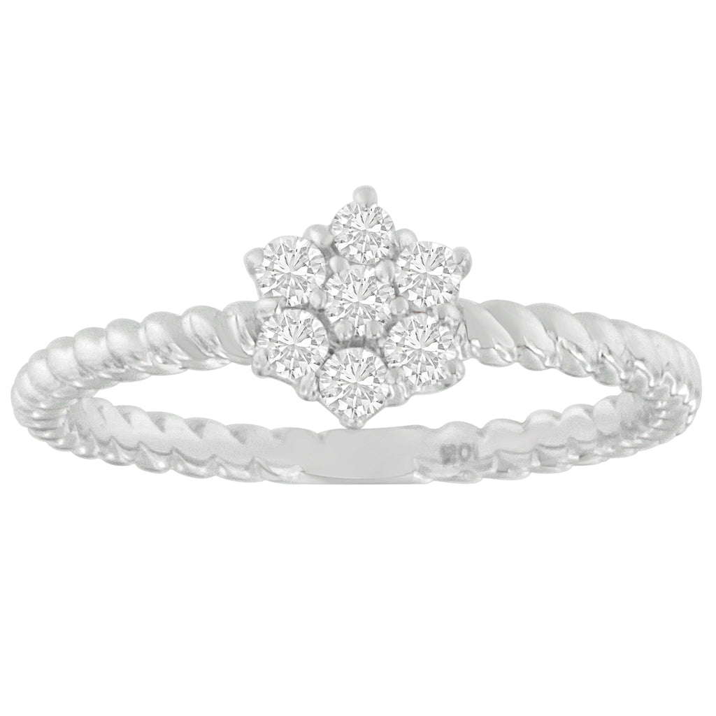 10K White Gold 1/4 ct TDW Diamond Cluster Ring (H-I,SI1-SI2)