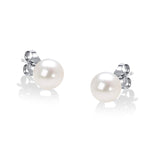 14K White Gold Round Freshwater Akoya Cultured Pearl Stud Earrings