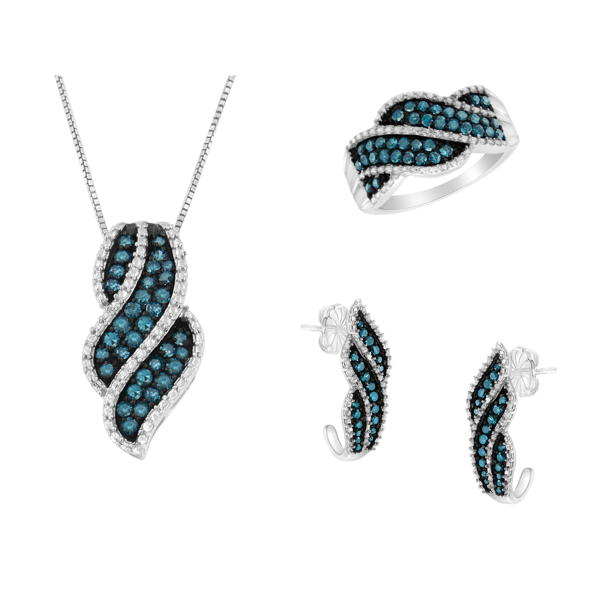 Sterling Silver and Blue Diamond Jewelry Set (Blue, I1-I2)