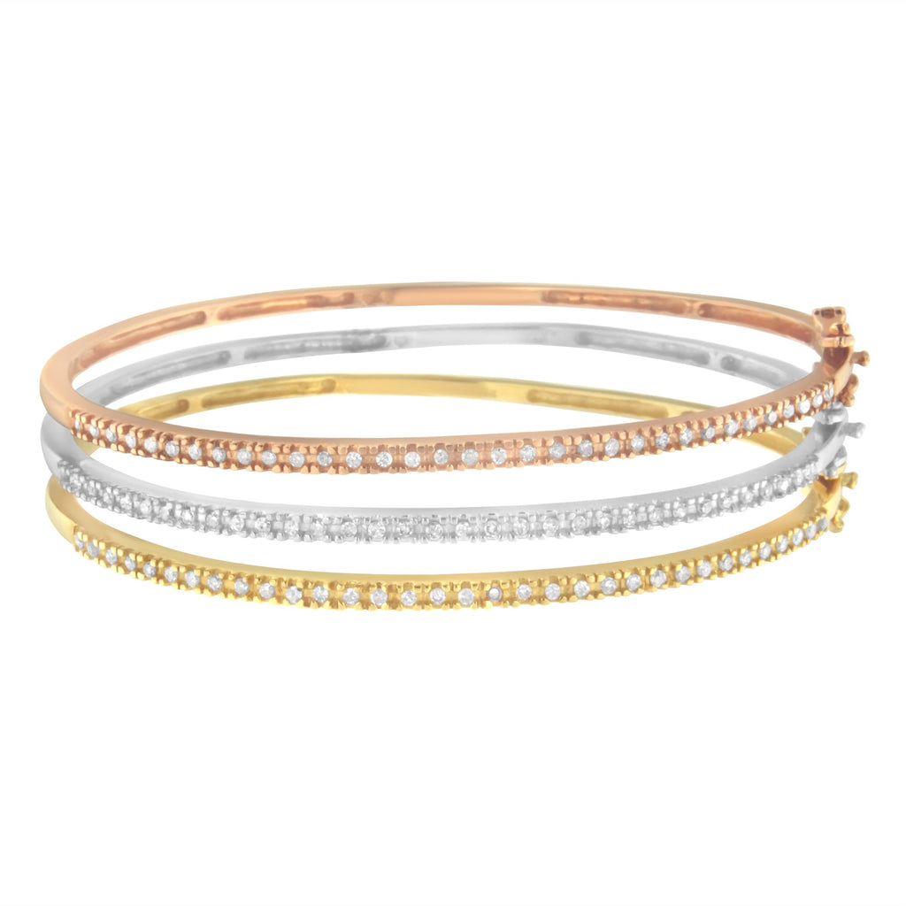 14K Tri-Color Gold 3/4ct TDW Diamond Stackable Bangle Set (H-I,I2-I3)
