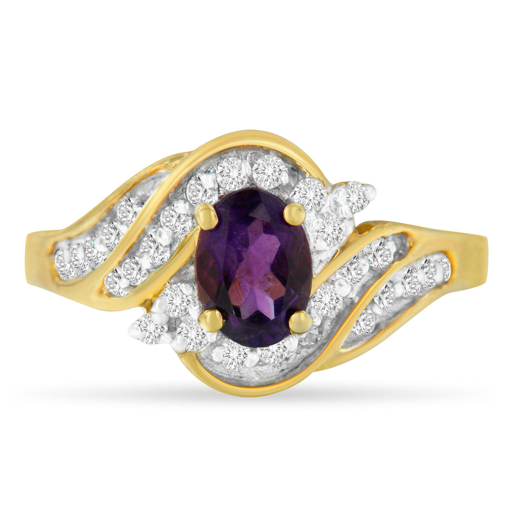10K Yellow Gold 1ct TDW Oval Amethyst and Diamond Ring (I-J ,I1-I2)