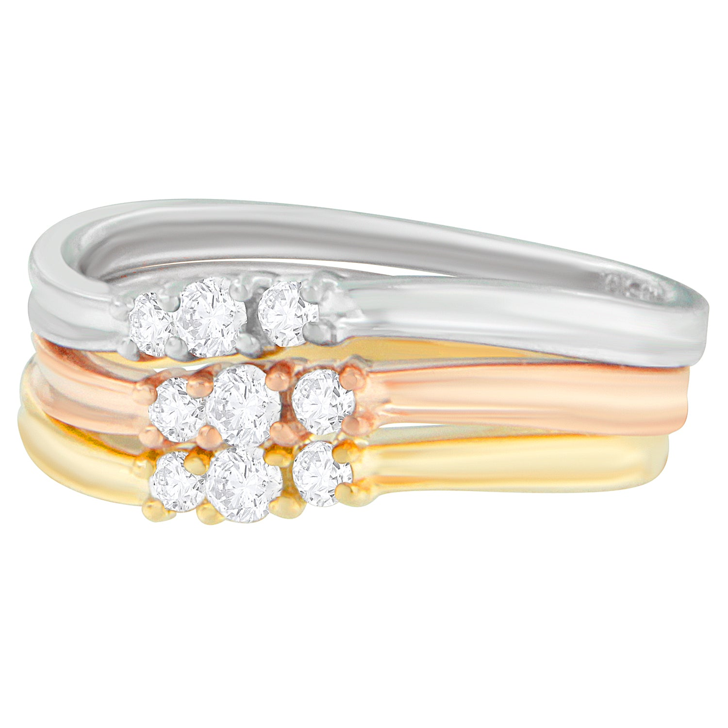 10K Gold 1/3ct TDW Stackable S-Curve Diamond Ring Set (H-I,SI2-I1)
